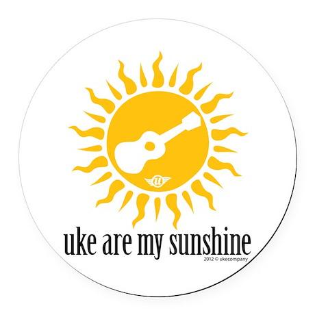 uke are my sunshine Round Car Magnet