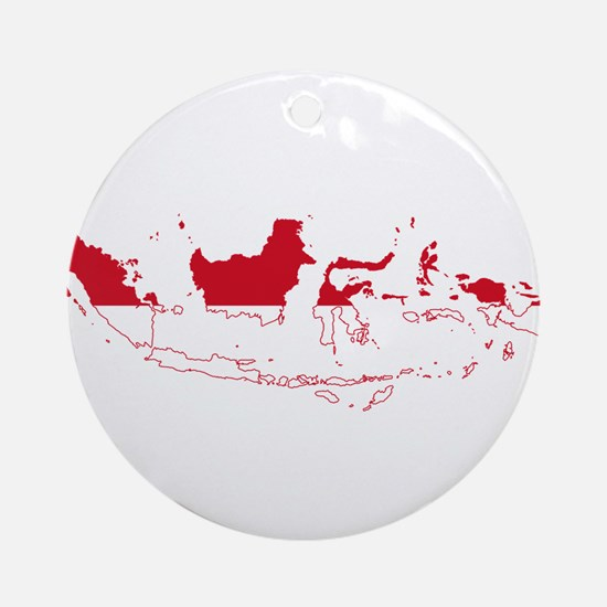 Indonesia Flag and Map Ornament (Round)