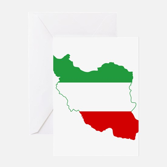 Iran Tricolor Flag and Map Greeting Card
