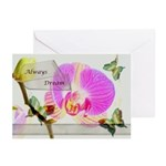 Always Dream Orchid and Butterflies Greeting Cards