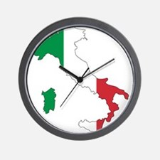 Italy Flag and Map Wall Clock