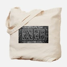 AJ initials. Vintage, Floral Tote Bag