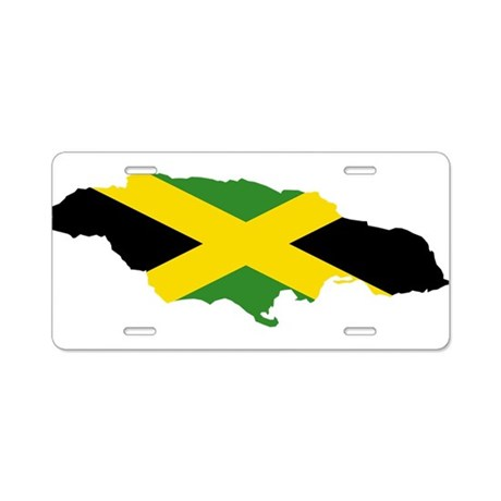 Jamaica Flag and Map Aluminum License Plate