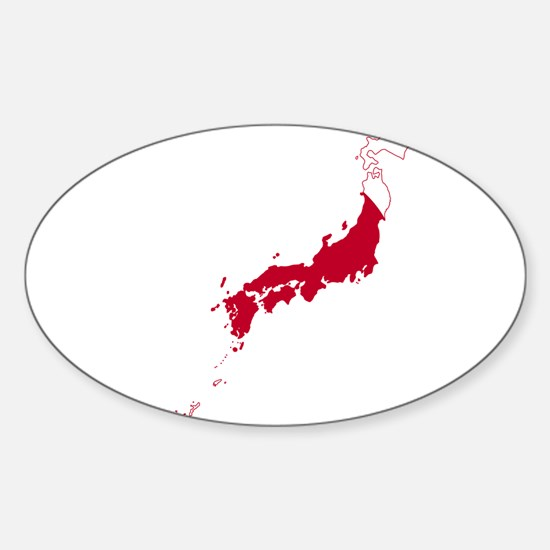 Japan Flag and Map Sticker (Oval)