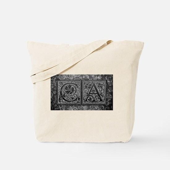CA initials. Vintage, Floral Tote Bag