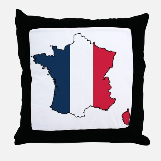 Flag Map of France Throw Pillow