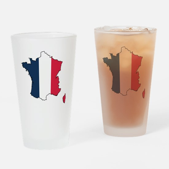 Flag Map of France Drinking Glass