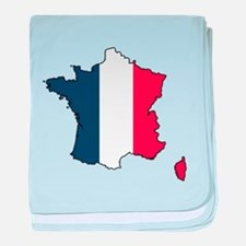 Flag Map of France baby blanket