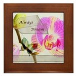 Always Dream Orchid and Butterflies Framed Tile