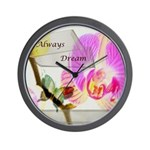 Always Dream Orchid and Butterflies Wall Clock