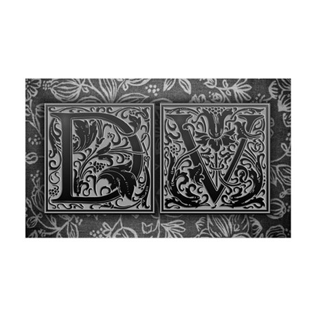 DV initials. Vintage, Floral 35x21 Wall Decal