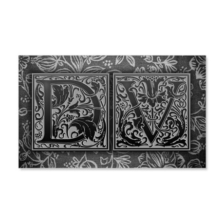 DV initials. Vintage, Floral 20x12 Wall Decal