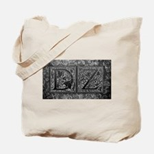 DZ initials. Vintage, Floral Tote Bag