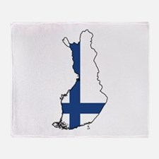 Flag Map of Finland Throw Blanket