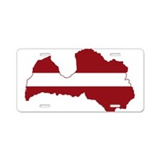 Latvia Flag and Map Aluminum License Plate