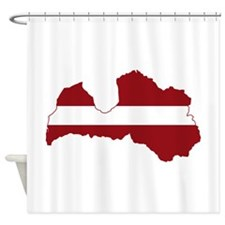 Latvia Flag and Map Shower Curtain