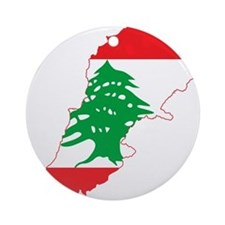Lebanon Flag and Map Ornament (Round)