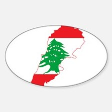 Lebanon Flag and Map Sticker (Oval)