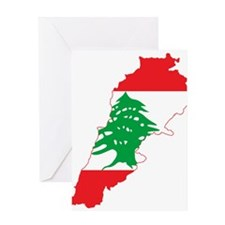 Lebanon Flag and Map Greeting Card