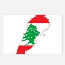 Lebanon Flag and Map Postcards (Package of 8)