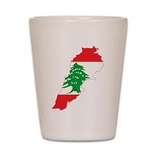 Lebanon Flag and Map Shot Glass