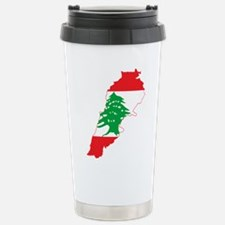Lebanon Flag and Map Travel Mug