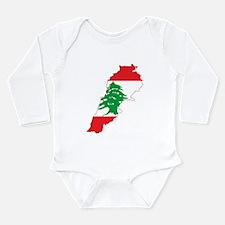 Lebanon Flag and Map Long Sleeve Infant Bodysuit