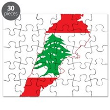 Lebanon Flag and Map Puzzle