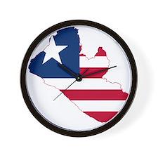 Liberia Flag and Map Wall Clock
