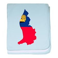 Liechtenstein Flag and Map baby blanket