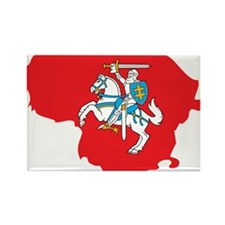 Lithuania State Ensign Flag and Map Rectangle Magn