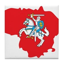 Lithuania State Ensign Flag and Map Tile Coaster