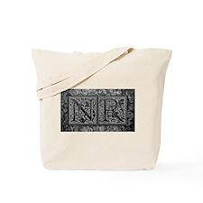 NR initials. Vintage, Floral Tote Bag