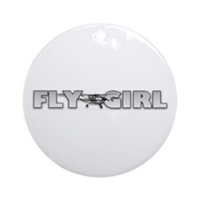 Fly Girl Aviation Ornament (Round)