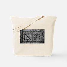NY initials. Vintage, Floral Tote Bag