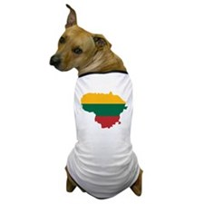 Lithuania State Ensign Flag and Map Dog T-Shirt