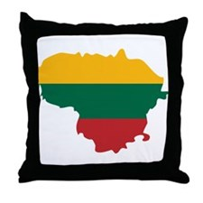 Lithuania State Ensign Flag and Map Throw Pillow