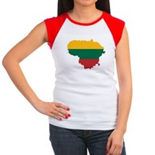 Lithuania State Ensign Flag and Map Women's Cap Sl
