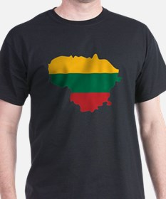 Lithuania State Ensign Flag and Map T-Shirt
