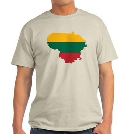 Lithuania State Ensign Flag and Map Light T-Shirt