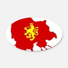 Macedonia Lion Flag and Map Oval Car Magnet