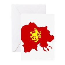 Macedonia Lion Flag and Map Greeting Cards (Pk of