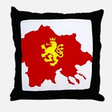 Macedonia Lion Flag and Map Throw Pillow