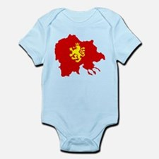 Macedonia Lion Flag and Map Infant Bodysuit