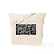 TU initials. Vintage, Floral Tote Bag