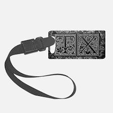 TX initials. Vintage, Floral Luggage Tag