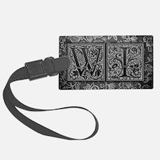 WI initials. Vintage, Floral Luggage Tag