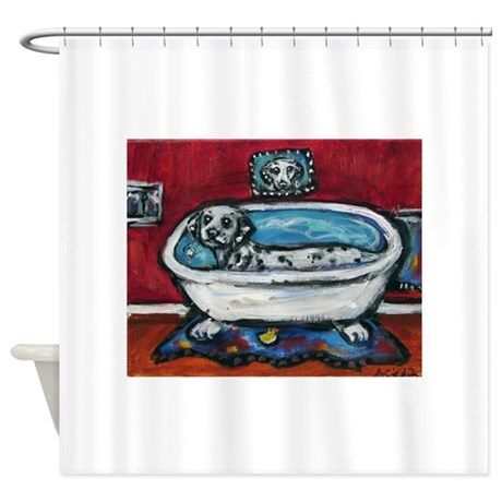 Dalmatian Whimsical Bath Shower Curtain By Petartbyangie
