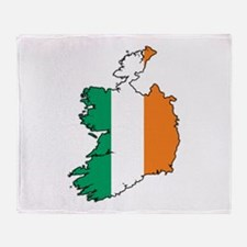 Flag Map of Ireland Throw Blanket