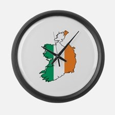 Flag Map of Ireland Large Wall Clock